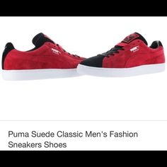 Puma sneakers men's The Puma Suede Classic + shoe is the perfect balance between a casual shoe that can dressed up with the sleek feel of a classic sneaker. The shoe features a low top style with lace up closure, suede upper with Puma signature stripe detail along side and tongue, Puma logo prints on tongue, heel and side, comes with two sets of laces to change up the look, textile and man made lining, and a contrasting rubber outsole. Puma Shoes Sneakers