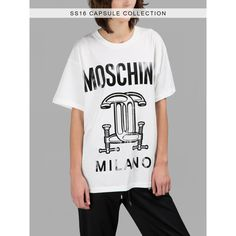 Moschino T Shirts (€140) ❤ liked on Polyvore featuring tops, t-shirts, multicolor, multi color t shirts, moschino, pattern t shirt, moschino top and colorful t shirts