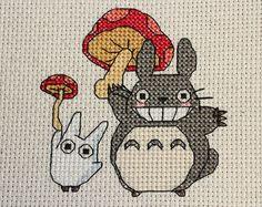 PATTERN: Totoro on Hydrangea Cross Stitch by epickawaii on Etsy Cross Stitching, Cross Stitch Embroidery, Embroidery Patterns, Hand Embroidery, Totoro, Cross Stitch Designs, Cross Stitch Patterns, Ghibli, Stitch Character