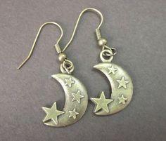Crescent Moon Stars Antiqued Brass Bronze Earrings