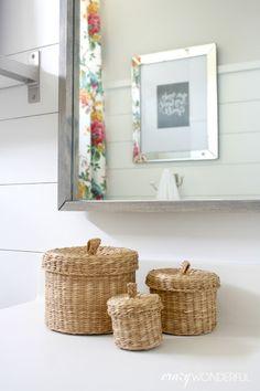girl's bathroom countertop storage