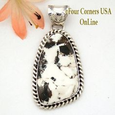White Buffalo Turquoise Pendant Navajo Artisan Harry Spencer NAP-1641 Four Corners USA OnLine Native American Jewelry