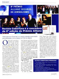 Título: Revista Cobertura é a vencedora da 8ª edição do Prêmio Allianz. Veículo: revista Cobertura. Data: Novembro de 2014. Cliente: Allianz Seguros.