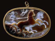 Sardonyx cameo with Victory driving a chariot. Roman. Imperial Period. Late 1st century B.C.–early 1st century A.D.   Museum of Fine Arts, Boston