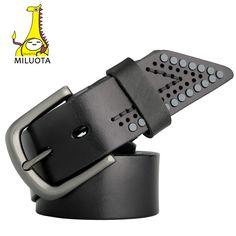 [MILUOTA] Vintage Belt Man Luxury Rivets Designer Belts Men High Quality 100% Genuine Leather Strap MU057
