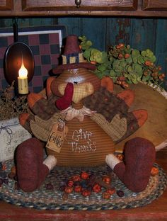Primitive Gobbles Turkey Pinkeep prim Doll by pattisratties