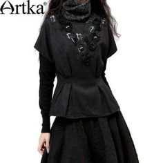 Artka Women's Autumn Vintage Elegant V-Neck Short Sleeve Slim Waist Draw Code Beading Solid Woolen Coat SA10131D Presale