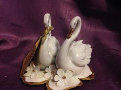 Vintage Capodimonte white swans and flowers with original tag