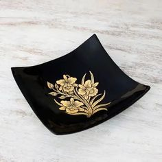 Lacquered wood decorative bowl, 'Golden Thai Orchids' - Thai Lacquer Ware Artisan Crafted Decorative Bowl Gold Leaf | NOVICA #backtohome #schoolathome #stayhome #school #home #homedecor #decorativebowl Black Square, Gold Leaf, Orchids, Decorative Bowls, Artisan, Elegant, Wood, Crafts, Stuff To Buy