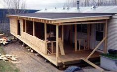 Manufactured Home Additions and Roofed Decks Manual - Mobile Home Repair - How about this – redo the entire front – porch, woodstove room, big bedroom? Mobile Home Addition, Mobile Home Redo, Mobile Home Porch, Mobile Home Repair, Mobile Home Makeovers, Mobile Home Living, Porches For Mobile Homes, Mobile Home Renovations, Remodeling Mobile Homes