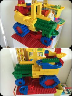 Lego Duplo and Hubelino marble tracktor, not the most elegant build, a lot of track is hidden on the inside. Unfortunatly it didn't last long enough to take better pictures