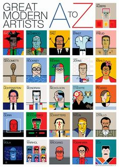 Great Modern Artists Alphabet I LOVE THIS! Get kids to design a modern artists alphabet poster of their own- another idea is their own A-Z of contemporary art artists Art History Timeline, Art History Lessons, History Posters, Art Lessons, History Memes, History Major, History Projects, History Books, History Facts