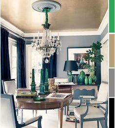 The decorista - 3 ways with emerald - we already have this color palette in our dining room...need more navy and emerald accents