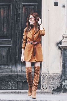 bfa6340eee7 Autumn outfit wearing a terracotta blazer with belt and over knee boots.  Loving this colour