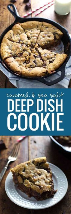 This has got to be the ultimate gooey, chocolatey dessert recipe! Deep Dish Chocolate Chip Cookies with Caramel and Sea Salt - my favorite cookie dough baked in a skillet with a layer of soft caramel. Just Desserts, Delicious Desserts, Yummy Food, Yummy Treats, Sweet Treats, Deep Dish Cookie, Cookie Recipes, Dessert Recipes, Desserts With Cookie Dough
