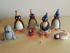 Pingu cake toppers made from Gum paste.