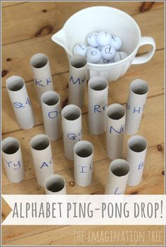Alphabet Ping-Pong Drop Literacy Game – The Imagination Tree Super creative! {Imagination Tree} The post Alphabet Ping-Pong Drop Literacy Game – The Imagination Tree appeared first on Crafts. Literacy Games, Kindergarten Literacy, Alphabet Activities, Early Literacy, Literacy Centres, Preschool Letters, Learning Letters, Preschool Activities, Kids Learning