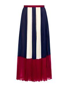 6d12a8a412a54 Color-Block Chiffon Pleated Maxi Skirt