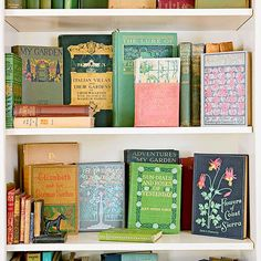 Display vintage books with beautiful covers! More flea market chic home accents: http://www.bhg.com/decorating/decorating-style/flea-market/flea-market-chic-home-accents/?socsrc=bhgpin080113books=3 #fleamarketgardening