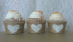 Jute Cupcake Wrappers Papers Decor Unique by ThreeTwigsDesigns
