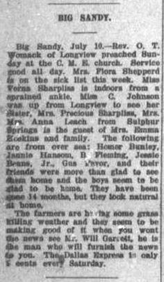 Dallas Express Newspaper Clippings -- Big Sandy -- (1919 -- 1923)