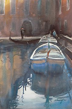 Afternoon, Venice, Italy III by Keiko Tanabe Watercolor ~ 21 1/2 x 14 1/4 inches (54.5 x 36 cm)