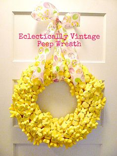 DIY Easter Wreaths - Spring And Easter Decor - Good Peeps are the quintessential symbol of Easter, and this deluge of yellow bunnies couldn't be more fun. Mix it up with different color Peeps to customize the look.
