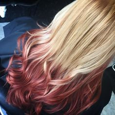 reverse ombre blonde to red. I will go more subtle colors