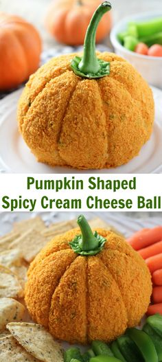 Pumpkin Shaped Cream Cheese Ball - an adorable appetizer for Halloween or Thanksgiving!