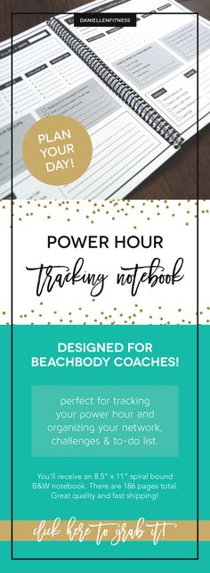 POWER HOUR tracking notebook!! If you're a Beachbody Coach, this is the perfect tool for planning and tracking your daily power hour to-do list! Do the vital behaviors, check into your challenge groups, post on your social media pages and ROCK your biz! // power hour // beachbody coach // coach resource // coach tool // coach planner // coach tracking notebook // powerhour planner // beachbody powerhour // beachbody power hour // power hour notebook
