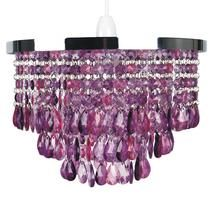 5 Light Crystal Chandelier Shade Colour: Purple: Amazon.co.uk ...