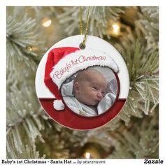 Baby's 1st Christmas - Santa Hat Photo Ornament Baby's 1st Christmas Ornament, Babys 1st Christmas, Baby Ornaments, Photo Ornaments, Personalized Christmas Ornaments, Holiday Cards, Christmas Cards, White Elephant Gifts, Santa Hat