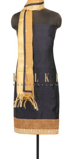 Navy blue unstithced suit in brocade hem line and sequin only on Kalki
