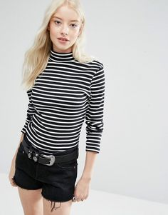 Image 1 of Brave Soul Stripe Roll Neck Sweater