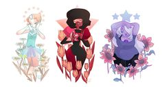 """miss-dahia: """"Garnet, Pearl and Amethyst ♥ Steven Universe is one of my favourite shows ever and I finally had the time to make a fan art! """""""