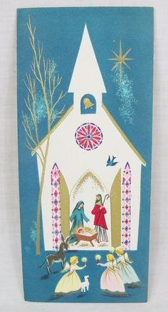 White church nativity angels vintage Christmas Card mid century greeting card