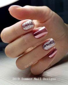 pink glitter Acrylic short square nails design for summer nails, Short square nails color ideas, Natural gel short square nails design, Pretty and cute acrylic nails design Nail ShortNails AcrylicNails SquareNails - Cute Acrylic Nails, Cute Acrylic Nail Designs, Nail Art Designs, Nails Design, Short Nail Designs, Classy Nails, Trendy Nails, Milky Nails, Short Square Nails