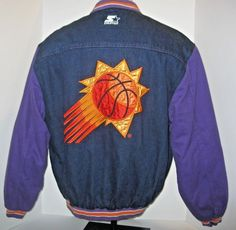 Vintage STARTER Phoenix Suns Men s M NBA Denim Jacket Logo Graphic Purple  Snap  Starter   b959b3000