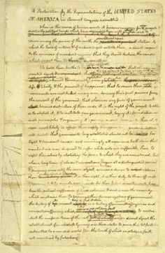 Thomas Jefferson's rough draft of The Declaration of Independence.
