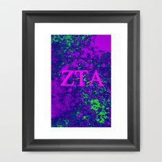 Zeta Tau Alpha, Colors set. Framed Art Print by seb mcnulty - $32.00