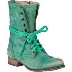 STEVE MADDEN SHOES Troopa Combat Boot Green Leather