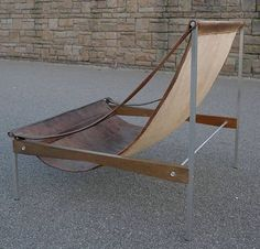 Stig Poulsson; Leather, Steel and Wood Sling Chair, 1969.
