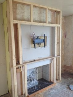 Been in the process of a refurb for a couple of months now, it has proved to be much more work than first thought. Log Burner Living Room, Living Room Decor Fireplace, Fireplace Tv Wall, Build A Fireplace, Faux Fireplace, Fireplace Remodel, Fireplace Design, Feature Wall Living Room, Built In Electric Fireplace