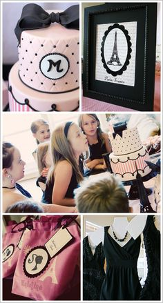 "Finally, the girls were given goodie bags which were decorated with Barbie silhouettes, Eiffel Towers and the individual girl's name. The images were cut from iron-on transfer sheets using a Silhouette digital cutting machine. The bags contained a notepad denoted as their ""Fashion Journal"", a pen and jewelry inside a black and pink box tied with pink satin ribbon. They also took home their dresses, cookies and their custom lip gloss they had made"