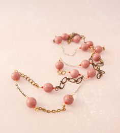 Long Necklace with Lavender Pink Rhodonite by bijoucailloustore