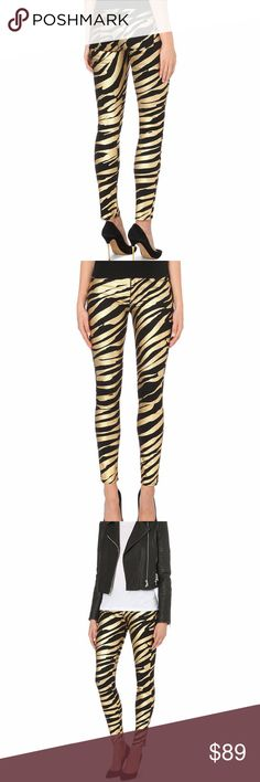 HUDSON Nico mtallic zebra-print super-skinny jeans HUDSON JEANS Nico metallic zebra-print super-skinny mid-rise jeans      Hudson's super-skinny Nico jeans are crafted in stretch-denim for a flattering skin-tight look.  Cut to a comfortable mid-rise with a concealed zip-fly fastening, this striking design has statement contemporary appeal with its high-imact metallic zebra-print design.  The look is completed with five-pockets, branded hardware and a logo at the back pocket. Zip Fly Button…