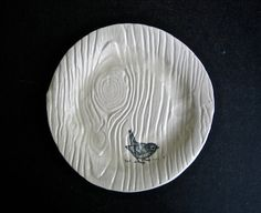 Hey, I found this really awesome Etsy listing at http://www.etsy.com/listing/125674343/faux-bois-plate-with-a-bird