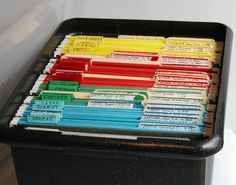 Genealogy filing system ... maybe a different color for each grandparent and the various ancestral lines going back from them?  http://www.familysearch.org/eng/search/RG/images/colored_box.jpg