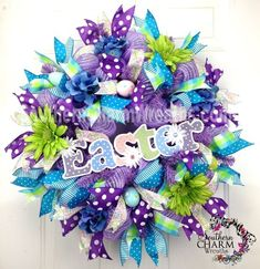 Deco Mesh EASTER Wreath with Polka Dot Sign Lavender Lime ... | Wreat…