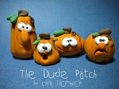 Halloween Pumpkins Polymer Clay Guys by CJThompsonArt on Etsy,
